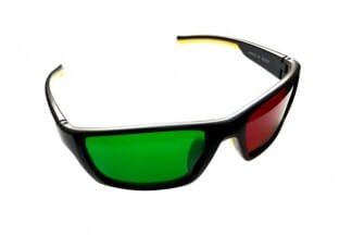 Reverse Wraparound Red/Green Glasses (Adult Size)